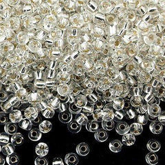 50g Miyuki Round Seed Bead 11/0 Silver Lined Crystal (1)