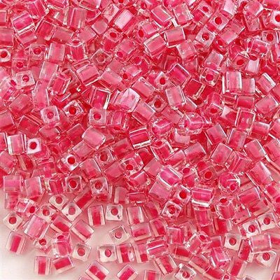 Miyuki 4mm Cube Seed Bead Inside Color Lined Raspberry 15g SB4-208
