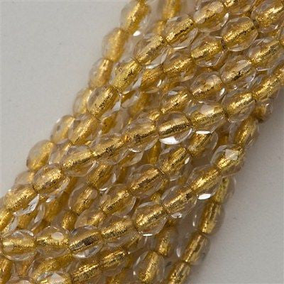 100 Czech Fire Polished 3mm Round Bead Jonquil Copper Line FP3-80130CL