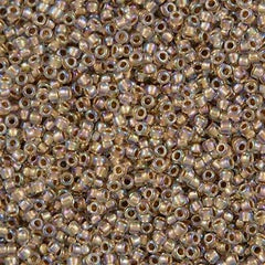 Toho Round Seed Bead 11/0 Inside Color Lined Tan AB 15g (994)