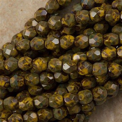 100 Czech Fire Polished 4mm Round Bead Sunflower Yellow Picasso (93110T)