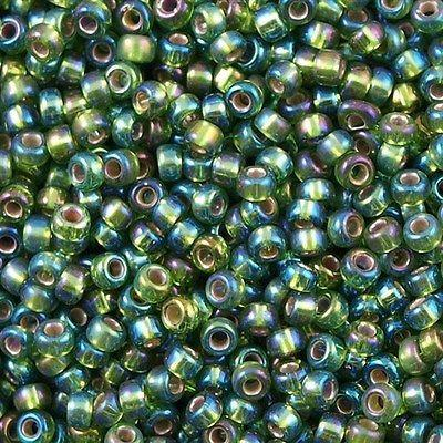 50g Miyuki Round Seed Bead 11/0 Silver Lined Olive AB (1026)