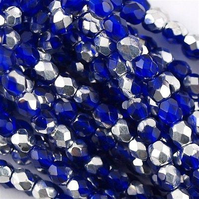 100 Czech Fire Polished 4mm Round Bead Silver Cobalt (30090S)