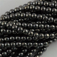 100 Czech 6mm Pressed Glass Round Beads Hematite (14400)