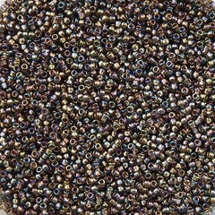 Toho Round Seed Bead 15/0 Inside Color Lined Gold Gray AB 2.5-inch Tube (999)