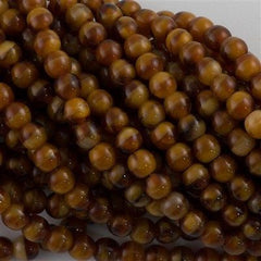 200 Czech 4mm Pressed Glass Round Beads Pearl Brown (16127)