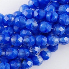50 Czech Fire Polished 6mm Round Bead Blue Crystal (36020)