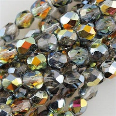 100 Czech Fire Polished 4mm Round Bead Crystal Marea (28001)