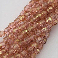 50 Czech Fire Polished 8mm Round Bead Transparent Topaz Pink Luster (15495)