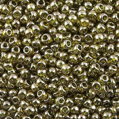 Toho Round Seed Bead 8/0 Gold Luster Green Tea 5.5-inch tube (457)