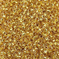Toho Round Seed Bead 8/0 24kt Gold Lined Crystal 5.5-inch tube (701)