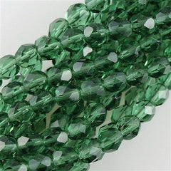 50 Czech Fire Polished 6mm Round Bead Prairie Green (50310)