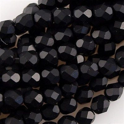 50 Czech Fire Polished 8mm Round Bead Jet Matte (23980M)