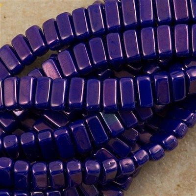 50 CzechMates 3x6mm Two Hole Brick Beads Blue Vega (33060E)