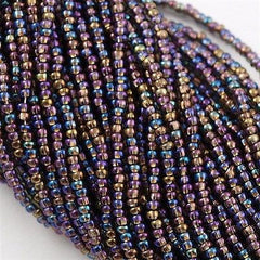 Czech Seed Bead Copper Lined Black Rainbow 1/2 Hank 11/0 (49019)