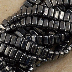 50 CzechMates 3x6mm Two Hole Brick Beads Hematite (14400)