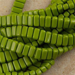 50 CzechMates 3x6mm Two Hole Brick Beads Opaque Olive (53420)