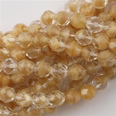 50 Czech Fire Polished 8mm Round Bead Crystal Beige (16018)