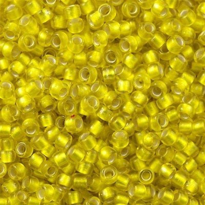 Toho Round Seed Bead 8/0 Silver Lined Transparent Matte Lemon 30g 8-32F