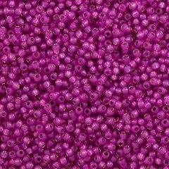 Toho Round Seed Bead 8/0 Silver Lined Milky Hot Pink 30g (2107)