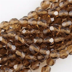 50 Czech Fire Polished 6mm Round Bead Smoky Topaz (10230)