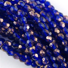 100 Czech Fire Polished 4mm Round Bead Cobalt Copper (30090C)