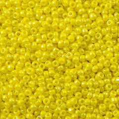 Toho Round Seed Bead 11/0 Opaque Yellow AB 19g Tube (402)