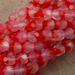 50 Czech Fire Polished 6mm Round Bead Cherry Milky White (91242)