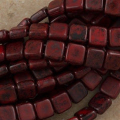 50 CzechMates 6mm Two Hole Tile Beads Opaque Red Black Picasso (93200TB)