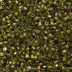 Toho Hex Seed Bead 11/0 Peridot Inside Color Lined Gold 7.2g Tube (991)