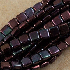 50 CzechMates 6mm Two Hole Tile Beads Metallic Amethyst Luster (15726B)
