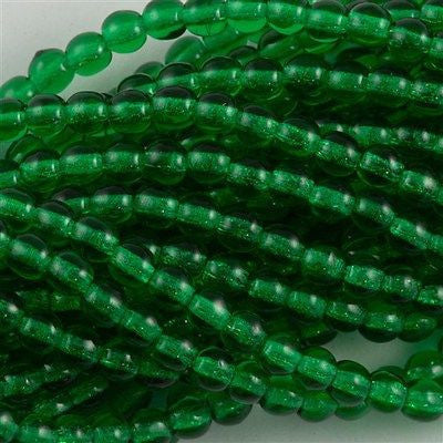 100 Czech 6mm Pressed Glass Round Beads Green Emerald (50140)