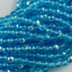 100 Czech 6mm Pressed Glass Round Beads Aquamarine AB (60020X)