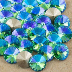 Six Swarovski Crystal SS39 1122 Rivoli Light Turquoise Glacier Blue (263 GB)