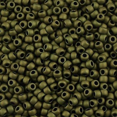 Toho Round Seed Bead 8/0 Matte Olive 5.5-inch tube (617)