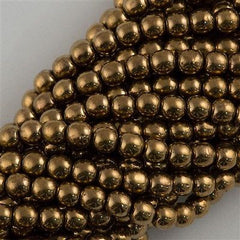 100 Czech 6mm Pressed Glass Round Beads Bronze (90215)