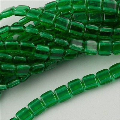 50 CzechMates 6mm Two Hole Tile Beads Green Emerald T6-50140