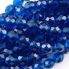 50 Czech Fire Polished 8mm Round Bead Capri Blue (60080)