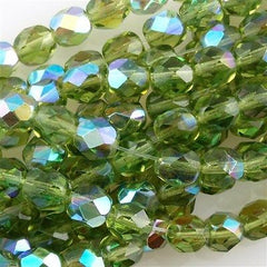 50 Czech Fire Polished 8mm Round Bead Olivine AB (50230X)