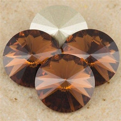 Four Swarovski Crystal 14mm 1122 Rivoli Smoked Topaz (220)