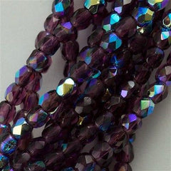 50 Czech Fire Polished 8mm Round Bead Amethyst AB FP8-20060X