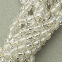 100 Czech Fire Polished 3mm Round Beads Silver Lined Crystal (00030SL)