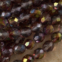 50 Czech Fire Polished 8mm Round Bead Amethyst Blue Crystal Luster (91006)