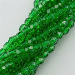 100 Czech Fire Polished 3mm Round Bead Green Emerald (50140)