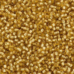 50g Toho Round Seed Beads 11/0 Matte Silver Lined Medium Gold (22BF)
