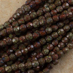100 Czech Fire Polished 3mm Round Bead Umber Picasso (13610T)