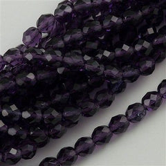50 Czech Fire Polished 6mm Round Bead Tanzanite (20510)