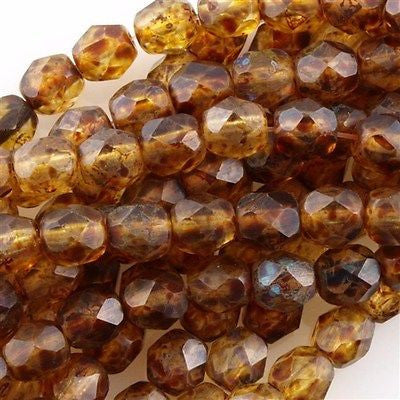 100 Czech Fire Polished 4mm Round Bead Matte Crystal Picasso (00030TM)