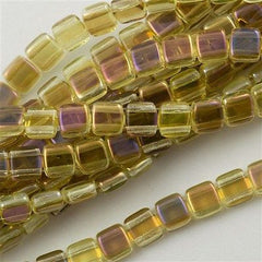 50 CzechMates 6mm Two Hole Tile Beads Jonquil Twilight T6-80130W