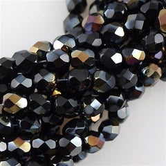 100 Czech Fire Polished 4mm Round Bead Jet Twilight (23980W)